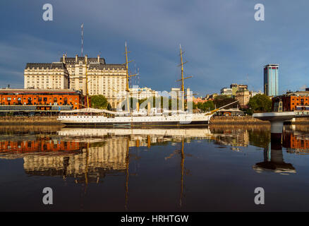 View of Puerto Madero and the museum ship ARA Presidente Sarmiento, City of Buenos Aires, Buenos Aires Province, - Stock Photo