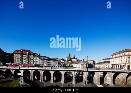 City centre viaduct, Lausanne, Vaud, Switzerland - Stock Photo