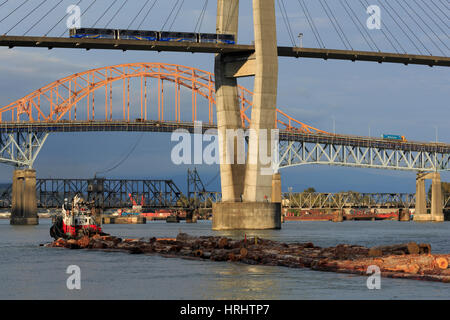 Skytrain Bridge, New Westminster, Vancouver Region, British Columbia, Canada, North America - Stock Photo
