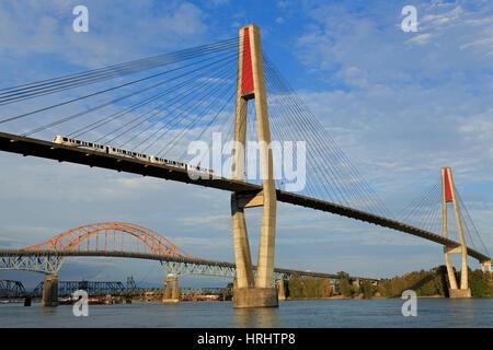 Skytrain Bridge, New Westminster, Vancouver Region, British Columbia, Canada, North America - Stock Photo