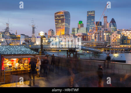 Christmas Market, The Scoop and The City of London skyline, South Bank, London, England, United Kingdom - Stock Photo
