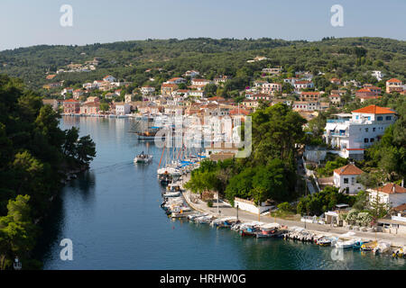 Harbour of Gaios town, Paxos, Ionian Islands, Greek Islands, Greece - Stock Photo