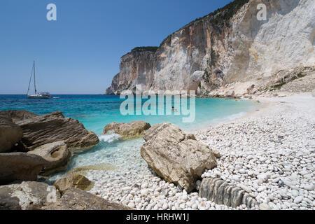 Erimitis beach on west coast, Paxos, Ionian Islands, Greek Islands, Greece - Stock Photo