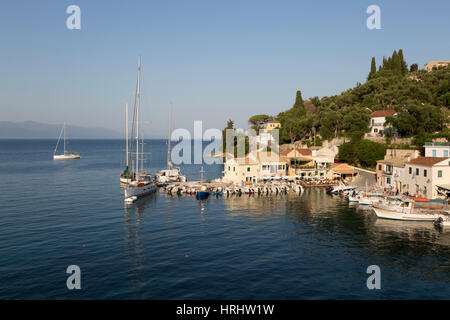 View over harbour, Loggos, Paxos, Ionian Islands, Greek Islands, Greece - Stock Photo