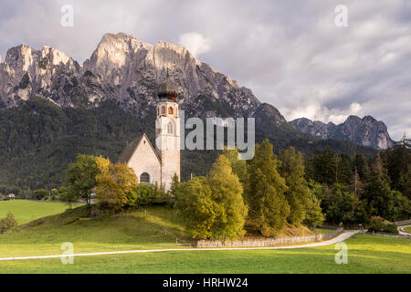 The church of San Costantino in the Dolomites, Italy - Stock Photo