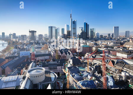 Frankfurt skyline with Paulskirche church, Roemerberg and financial district, Frankfurt, Hesse, Germany - Stock Photo