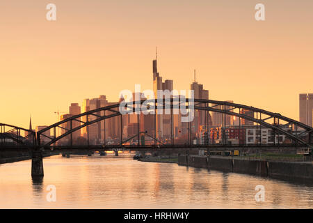 View over Main River to the financial district, skyline of Frankfurt, Hesse, Germany - Stock Photo