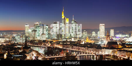 View over Main River to the financial district skyline, Kaiserdom cathedral, Paulskirche church, Frankfurt, Hesse, - Stock Photo