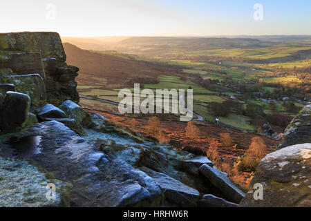 Curbar Edge, at sunrise on a frosty winter morning, Peak District National Park, Derbyshire, England, United Kingdom - Stock Photo