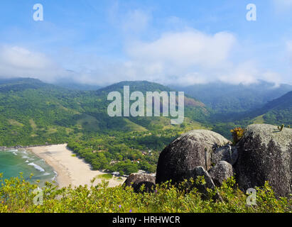 Elevated view of the beach in Bonete, Ilhabela Island, State of Sao Paulo, Brazil - Stock Photo