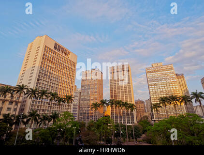 View of the Anhangabau Park and buildings in city centre., City of Sao Paulo, State of Sao Paulo, Brazil - Stock Photo