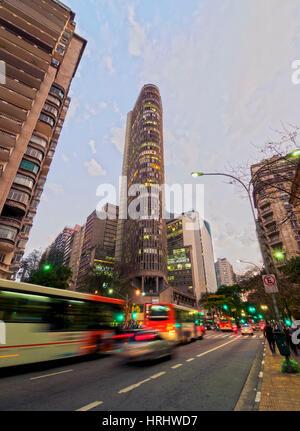 Twilight view of the Ipiranga Avenue and the Edificio Italia, City of Sao Paulo, State of Sao Paulo, Brazil