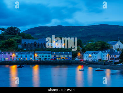 Twilight view of Portree, Isle of Skye, Inner Hebrides, Scotland, United Kingdom - Stock Photo