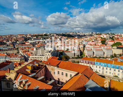 Cityscape viewed from the Sao Jorge Castle, Lisbon, Portugal - Stock Photo
