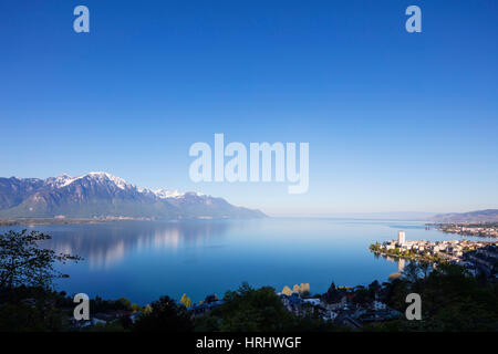 Lake Geneva (Lac Leman), Montreux, Vaud, Switzerland - Stock Photo