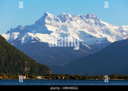 Lake Geneva (Lac Leman) and Dent du Midi, 3257m, Villeneuve, Vaud, Switzerland - Stock Photo