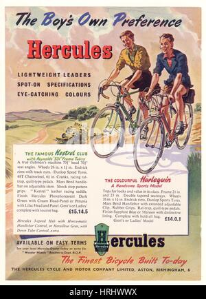 Advertisement leaflet for Hercules cycles 1950's, U.K. - Stock Photo