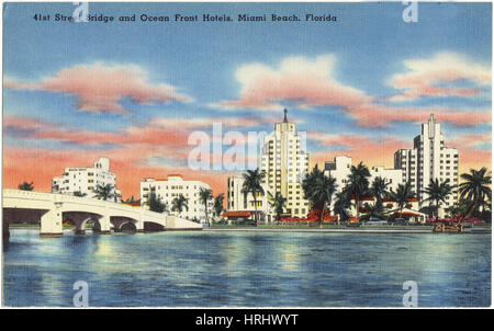 41st Street Bridge and Ocean Front hotels, Miami Beach, Florida - Stock Photo