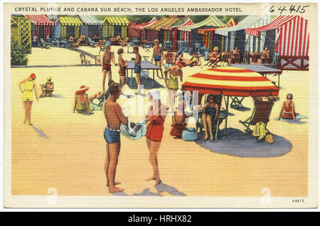 Crystal plunge and cabana sun beach, the Los Angeles Ambassador Hotel - Stock Photo