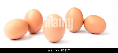 Five organic chicken eggs isolated on white. - Stock Photo