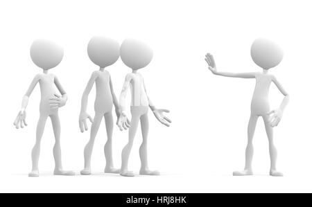 3d character holding up his hand in a stop sign to warn a group of people. Isolated - Stock Photo