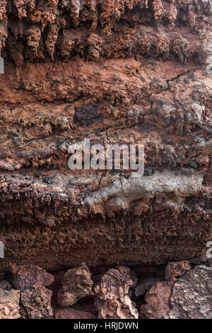 Volcanic lava texture. Timanfaya, Lanzarote, Canary Islands, Spain - Stock Photo