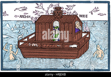 Noah's Ark with Merfolk, 1493 - Stock Photo