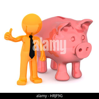 Businessman with piggybank giving a thumbs up. Conceptual business illustration. Isolated on white background - Stock Photo