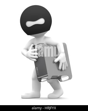 Thief stealing computer tower. Isolated on white background - Stock Photo