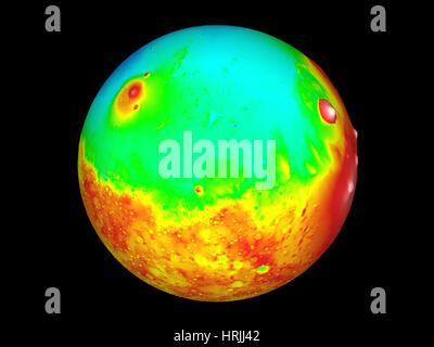 Martian Topography, Mars Orbiter Laser Altimeter - Stock Photo