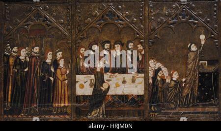 Master of Vallbona de les Monges (Guillem Seguer?), 14th century. Altarpiece of Corpus Christi, ca.1335-1345. Detail - Stock Photo