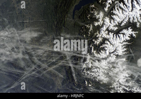 Contrails Over Rh̫ne Valley, ISS Image - Stock Photo