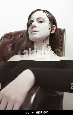 Female model with whit fair skin and brown hair - Stock Photo