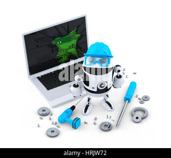 Technician fixing laptop.  Technology concept. Isolated on white background - Stock Photo