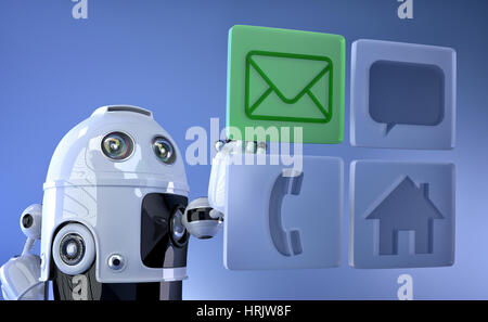 Robot touching virtual mobile icons. Communication concept - Stock Photo