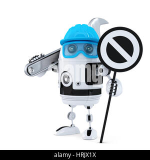 Robot construction worker with wrench and stop sign. Technology concept. Isolated over white background - Stock Photo