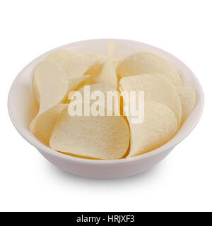 side view of round potato chips in a white round shaped ceramic