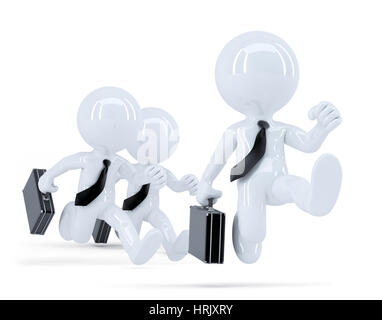 Group of businessmen running. Business concept. Isolated. Contains clipping path - Stock Photo