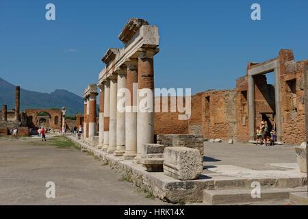 Forum, ancient city, Pompeii, Campania, Italy - Stock Photo