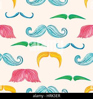 Mustache seamless pattern in vintage style - Stock Photo