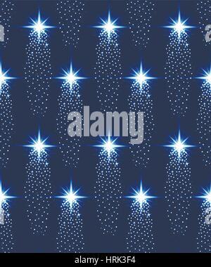 Seamless stars pattern in blue. Vector Illustration - Stock Photo
