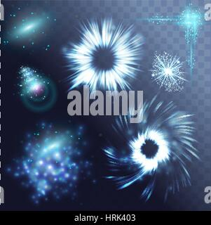 Vector glowing stars, lights and sparkles. Transparent effects - Stock Photo