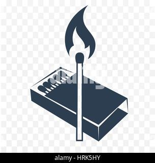 isilhouette, black and white icon lighted match with a box of matches. two colors - Stock Photo