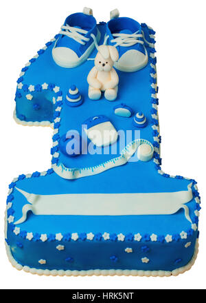Cake Celebrating Child's First Birthday in the form of one - Stock Photo