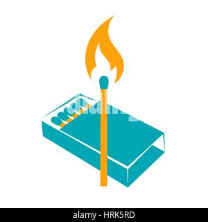 icon lighted match with a box of matches. two colors - Stock Photo