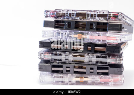 Picture of a retro, dusty, used, old cassettes tape from 70s 80s 90s. It reminds of the music history. - Stock Photo