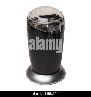 Black electric coffee grinder with a closed transparent cover isolated on white background - Stock Photo