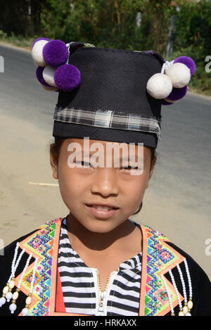 Children of the Hmong tribe in Laos in traditional costume - Stock Photo
