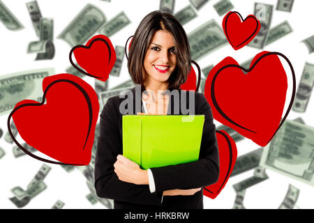 young business woman in love for her job - Stock Photo