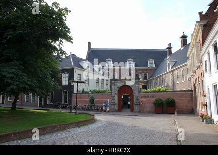 Upscale Prinsenhof Hotel on Martinikerhof, square, central Groningen, The Netherlands in summer - Stock Photo